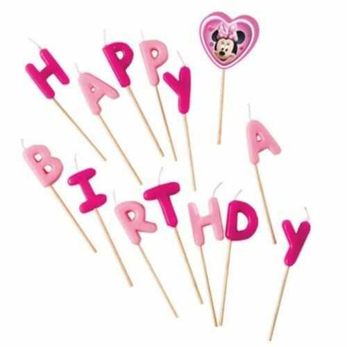 Świeczki pikery urodzinowe Minnie Mouse Happy Birthday