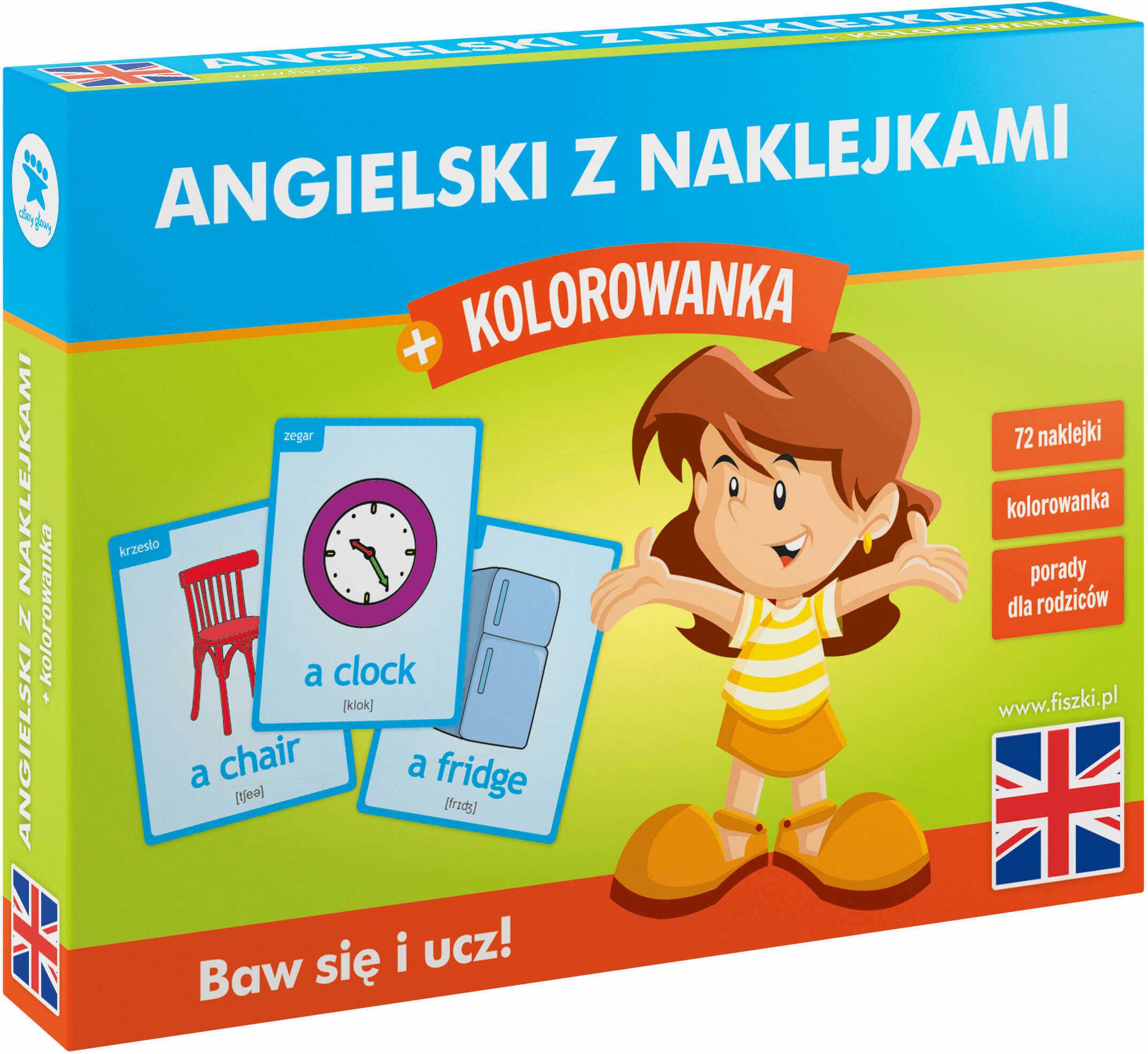 NAKLEJKI edukacyjne + kolorowanka - angielski