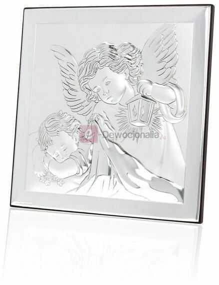 Obrazek srebrny - Anioł Stróż z latarenką [różne rozmiary]