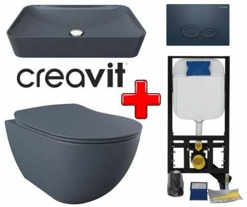 ZESTAW 5w1 CREAVIT, szary ultra mat RIMLESS: Umywalka nablatowa + Miska WC podwieszana bezkołnierzowa + deska soft-close + przycisk SPA + Stelaż podtynkowy, Regulacja 180-230 mm, 3/6L, 300kg