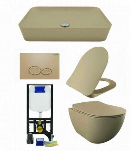 ZESTAW 5w1 CREAVIT, cappuccino ultra mat RIMLESS: Miska WC podwieszana bezkołnierzowa + deska soft-close + Umywalka nablatowa + przycisk + Stelaż podtynkowy, Regulacja 180-230 mm, 3/6L, 300kg