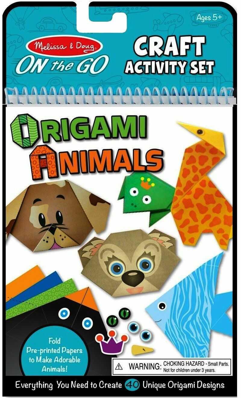 Melissa & Doug On the Go Origami Zwierzęta zestaw aktywności rzemieślniczej - 38 naklejek, 40 kartek origami