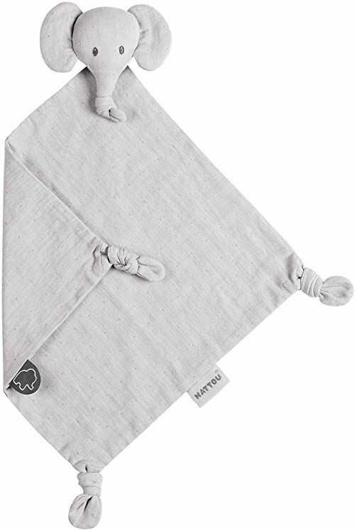 Nattou Ręcznik z podwójnej bawełnianej siateczki, towarzysz od urodzenia, 21 x 20 cm, Tembo, szary