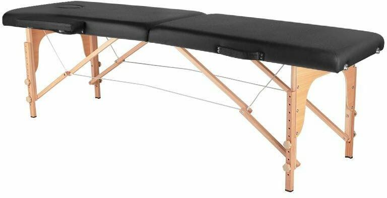 Stół składany do masażu wood komfort 2 segmentowe czarny