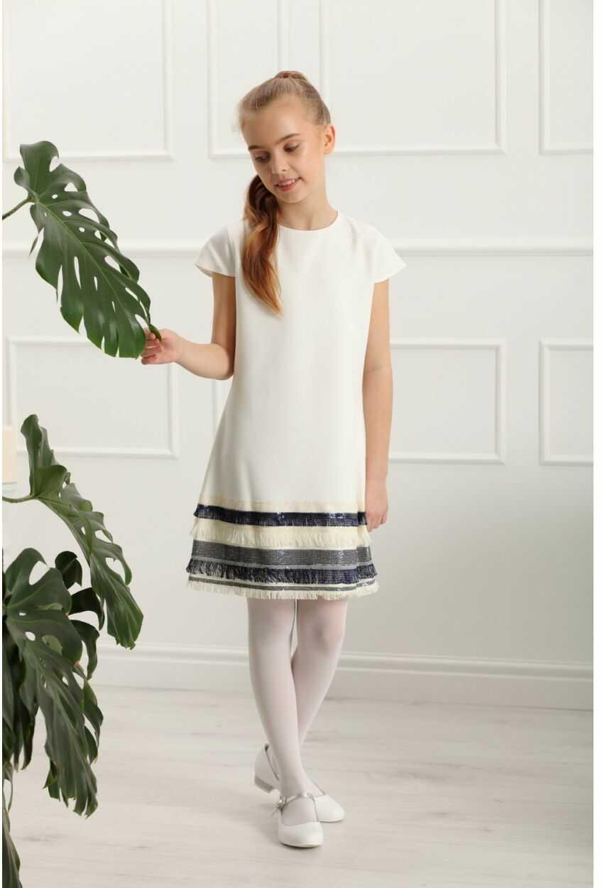 Prosta sukienka z wstawką dla dziewczynki 140-158 Olivia ecru