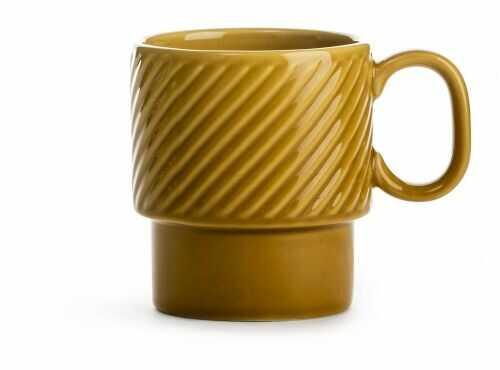 filiżanka do kawy, żółta, ceramika, 0,25 l, wys. 9 cm