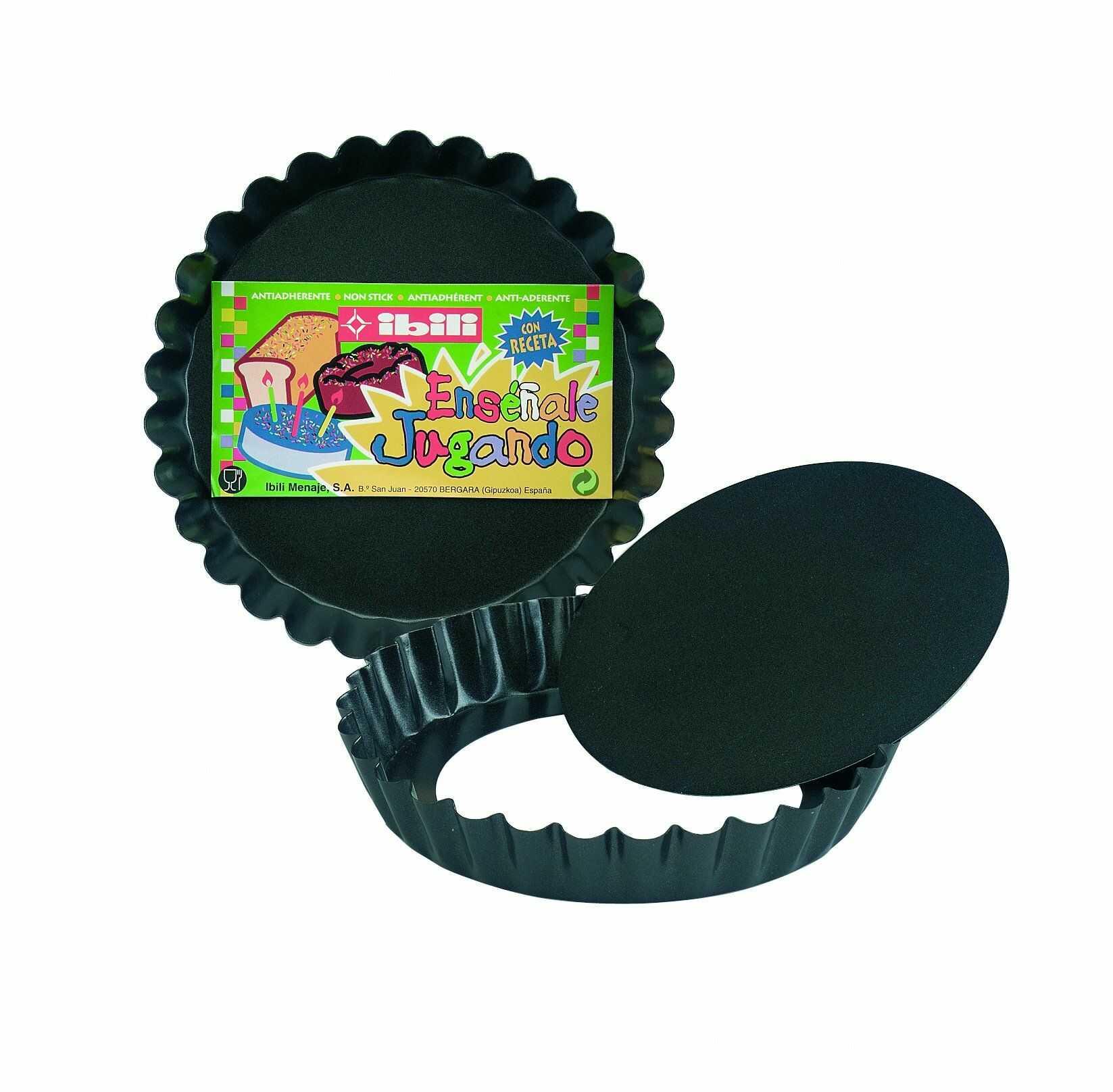 Ibili Moka zestaw foremek do quiche 12 cm, blacha stalowa, czarna, 12 x 12 x 2 cm