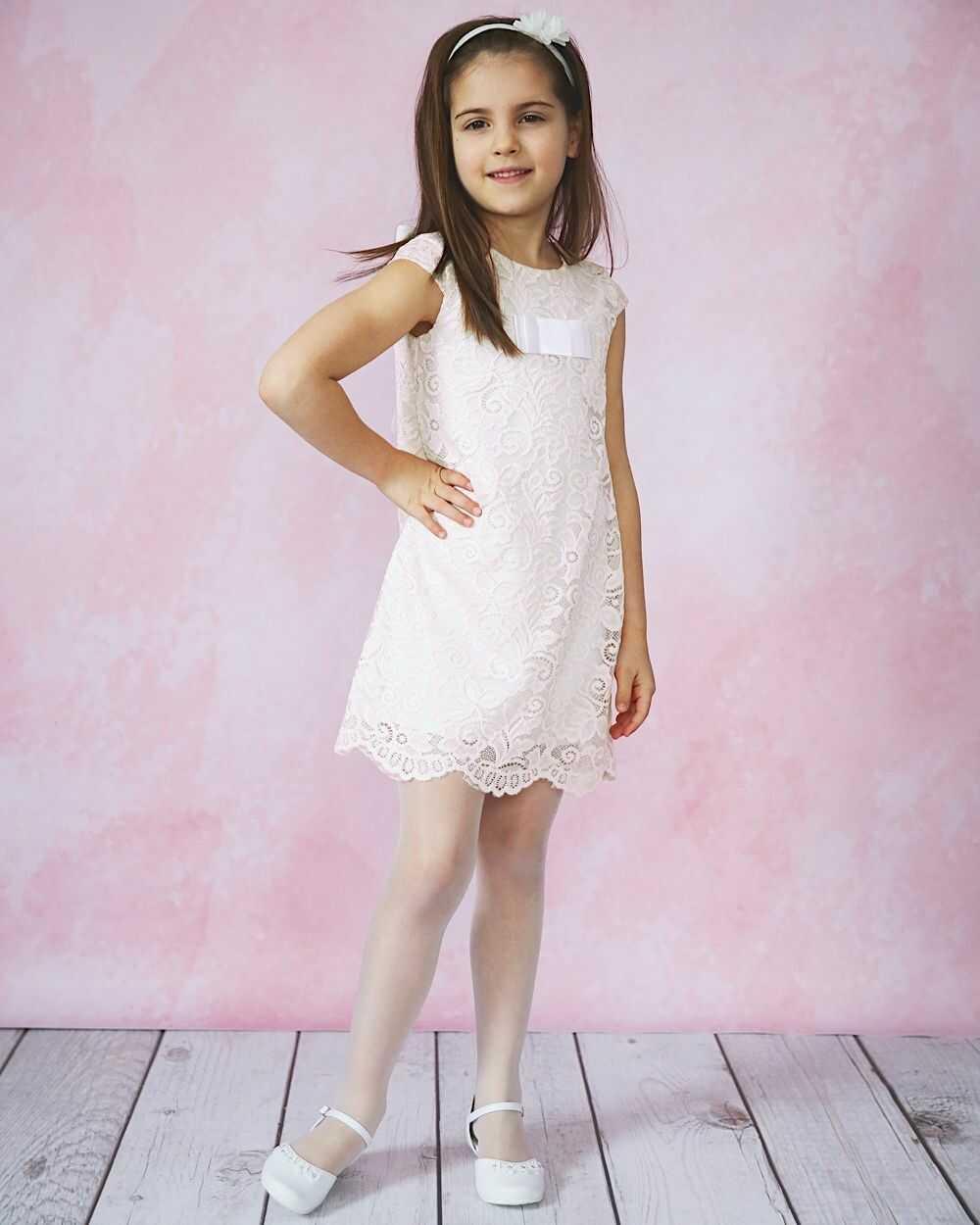 Koronkowa sukienka dla dziewczynki 92-152 Amelka ecru