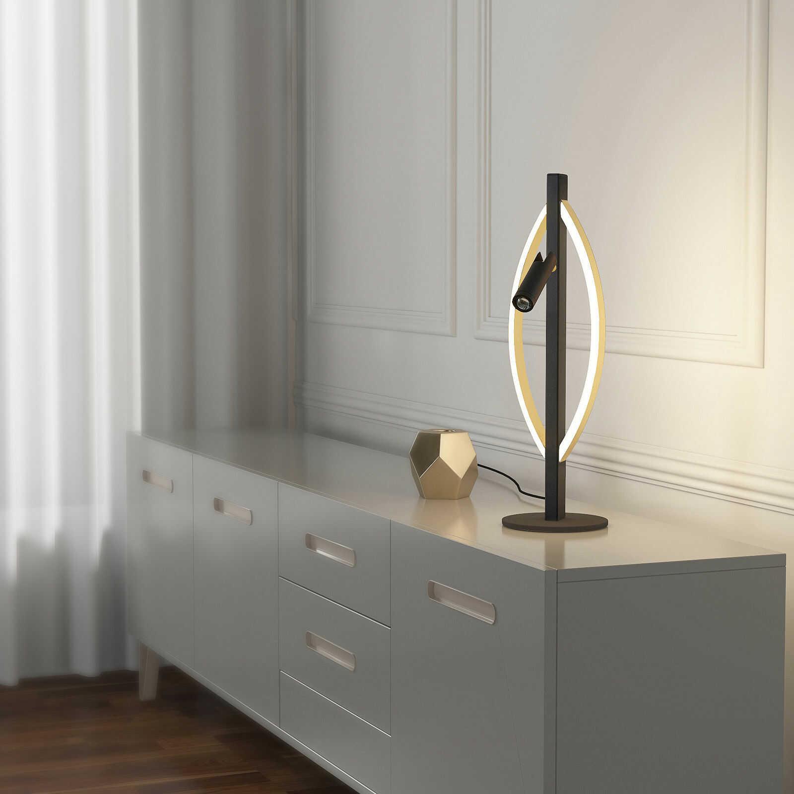 Lucande Matwei lampa stołowa LED, owalna, mosiądz
