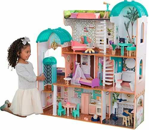 KidKraft 65986 Camila meble drewniane i akcesoria do domku dla lalek, kolor różowy