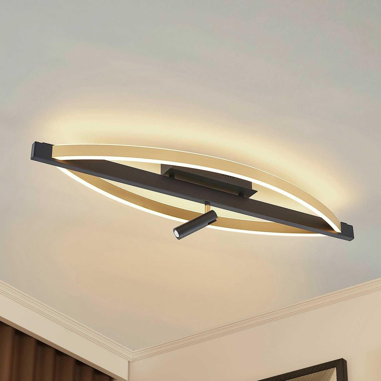 Lucande Matwei lampa sufitowa LED, owalna, mosiądz