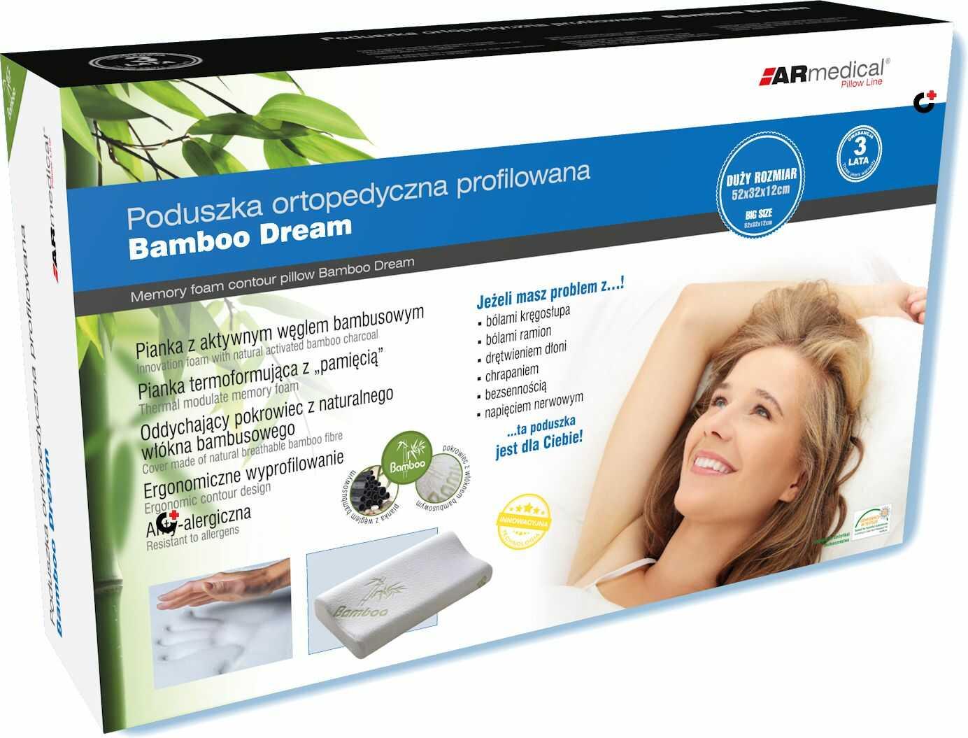 DUŻA Bambusowa - HYPOALERGICZNA poduszka ortopedyczna z PAMIĘCIĄ (mfp-5232)