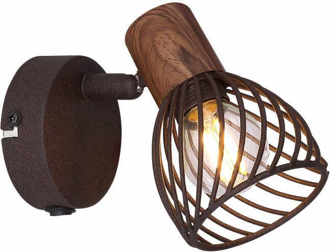 Globo ISABELLE 54817-1 kinkiet lampa ścienna rdzawy drewno brąz 1xE14 40W 8cm