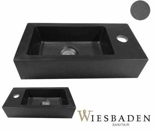 Umywalka mała ceramiczna prostokątna 36,5x18cm, RHEA Kwarc, czarna