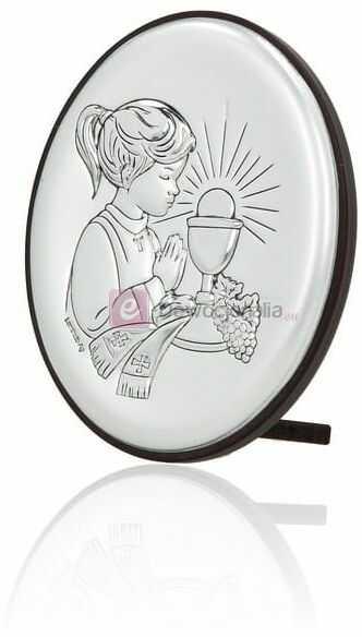 Obrazek srebrny - Komunia Święta - dziewczynka 9x7