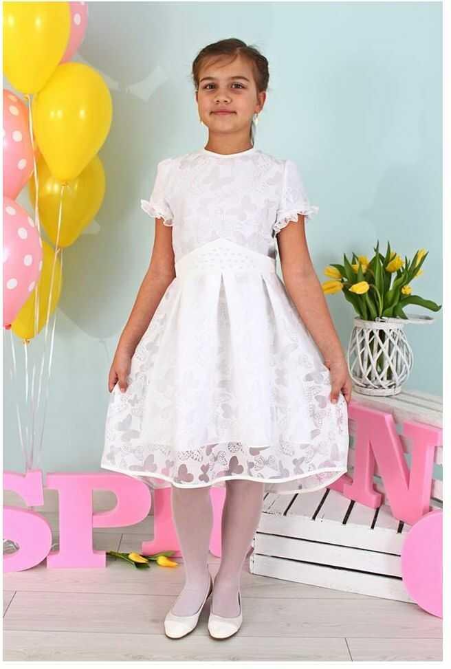 Wzorzysta sukienka dla dziewczynki 128-158 Bella biała