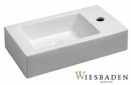 Umywalka mała ceramiczna prostokątna 45,5x26cm, RHEA biała prawa