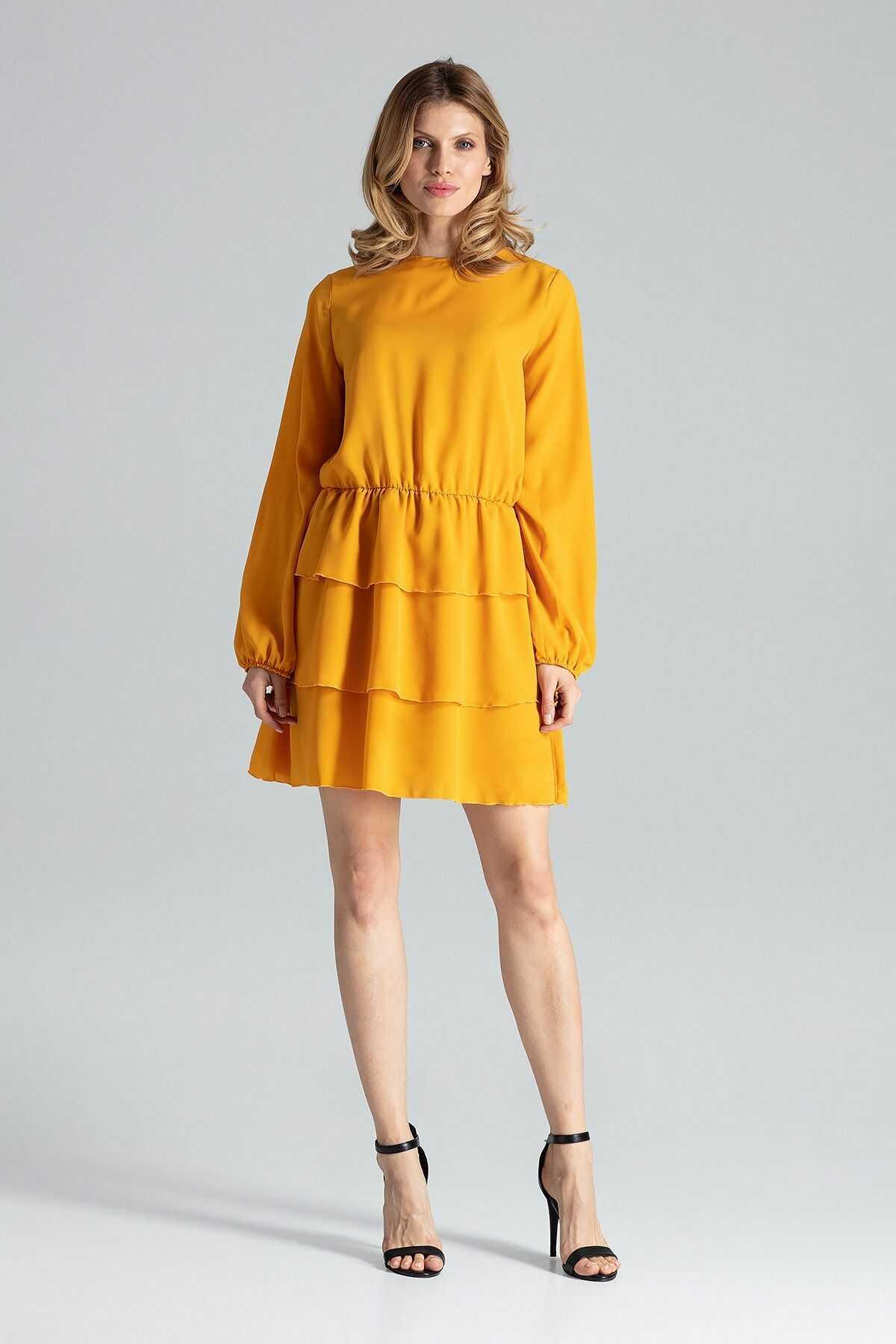 Musztardowa romantyczna wyjściowa sukienka z długimi bufiastymi rękawami