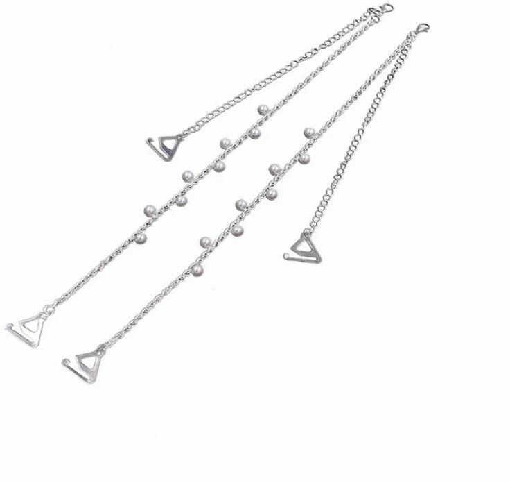 Ozdobne ramiączka do biustonosza perełki srebrne BS001378