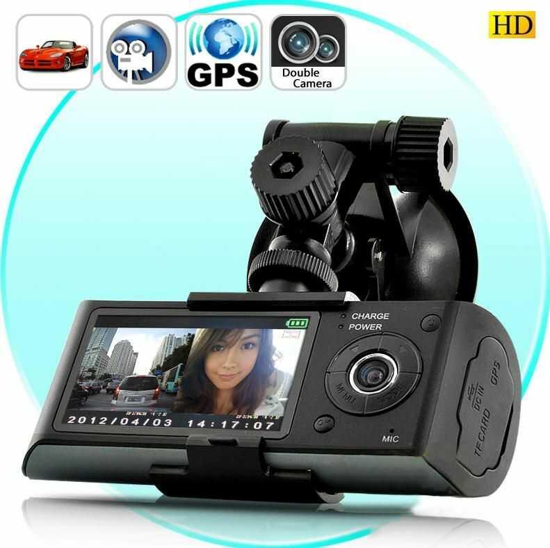 """Profesjonalne 2-Kamery/Rejestratory Samochodowe HD w Jednym!! + Ekran LCD 2,7""""+ GPS + Menu PL..."""