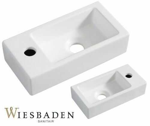 Umywalka mała ceramiczna prostokątna 36x18cm XS RHEA, biała matowa
