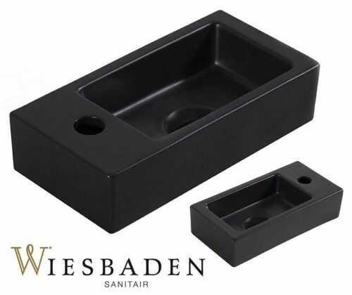 Umywalka mała ceramiczna prostokątna 36x18cm XS RHEA, czarna matowa