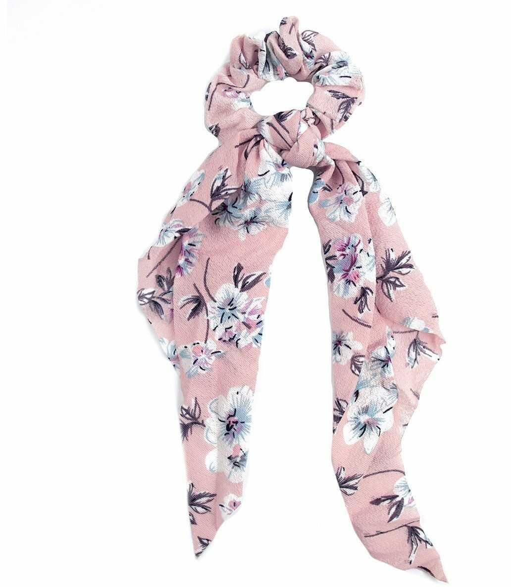 Gumka do włosów apaszka scrunchies kwiaty różowa