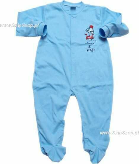 Pajac dla dzieci Gienio niebieski z kotkiem Cieplusiem