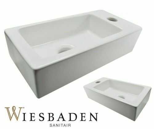 Umywalka mała ceramiczna prostokątna 36x18cm XS RHEA, biała