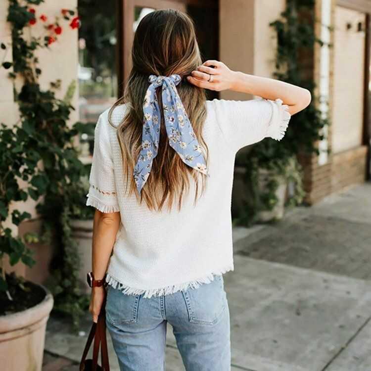 Gumka do włosów apaszka scrunchies kwiaty błękitna