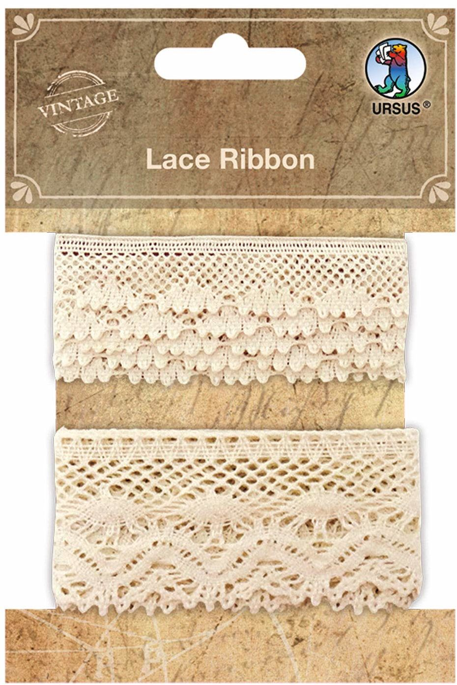 Lace Ribbon, koronkowe taśmy z materiału, 2 sztuki w różnych szerokościach w kolorze kremowym, do ozdabiania prac ręcznych