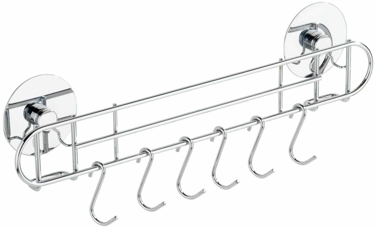 Wenko TurboFIX reling kuchenny, z 6 hakami  mocowanie bez wiercenia, 31,5 x 9,5 x 5 cm, srebrny błyszczący
