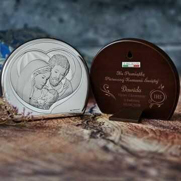 Komunia Święta - Św. Rodzina - Półkole - Srebrny Obrazek z Grawerem