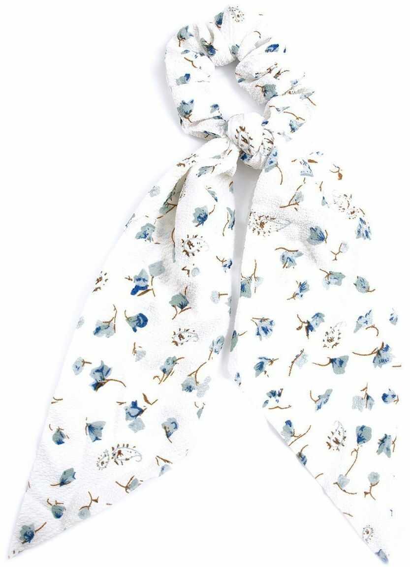 Gumka do włosów apaszka scrunchies biała kwiaty