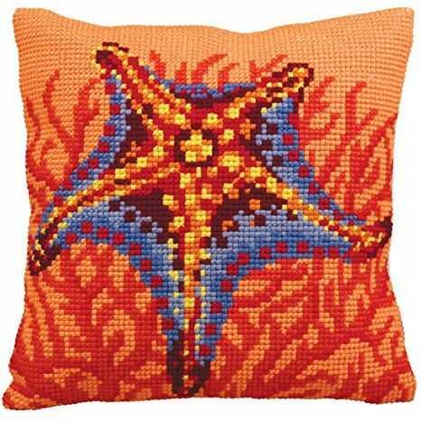 Collection d''Art Poduszka do haftu krzyżykowego: Pomarańczowa rozgwiazda
