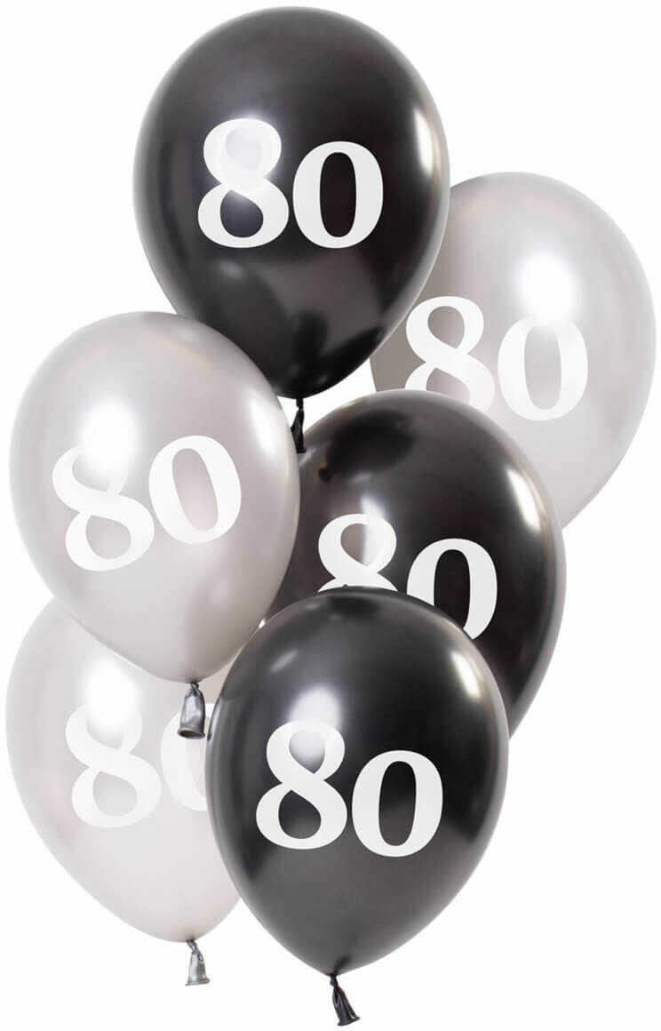 Zestaw balonów na osiemdziesiąte urodziny Glossy czarny - 23 cm - 6 szt.