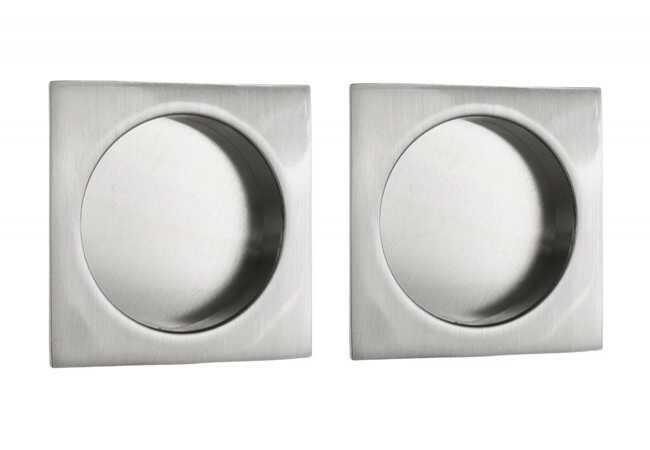 Uchwyt do drzwi przesuwnych kwadratowy 55x55 mm, satyna (2 szt)