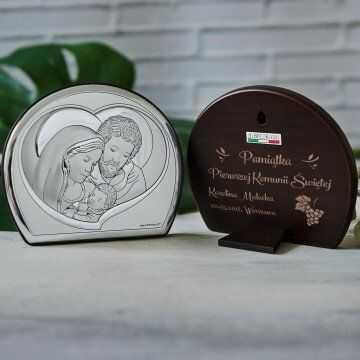Pamiątka Pierwszej Komunii - Św. Rodzina - Półkole - Srebrny Obrazek z Grawerem