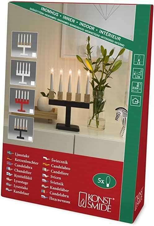Konstsmide 2558-201 drewniany świecznik lakierowany na biało z uchwytem w kolorze dębu/do wnętrz (IP20) / 230 V do wnętrz / 5 przezroczystych żarówek/biały kabel