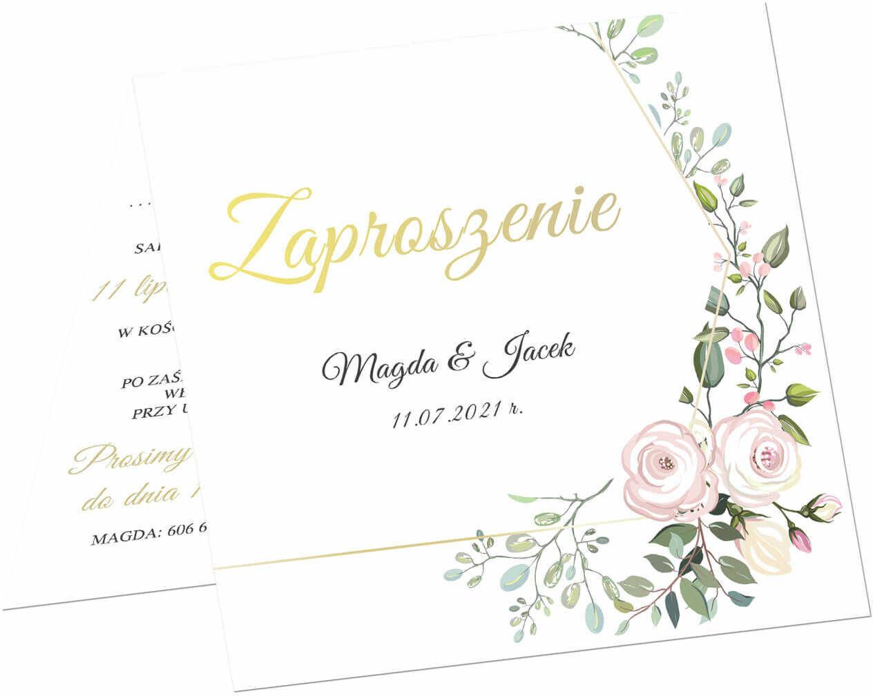Zaproszenie personalizowane na ślub z kopertą - 6 szt.