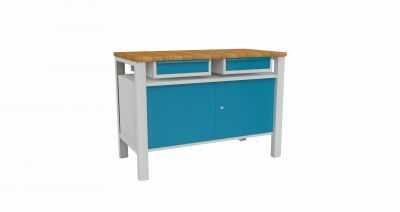Stół warsztatowy roboczy metalowy z 2 szafkami STW 324