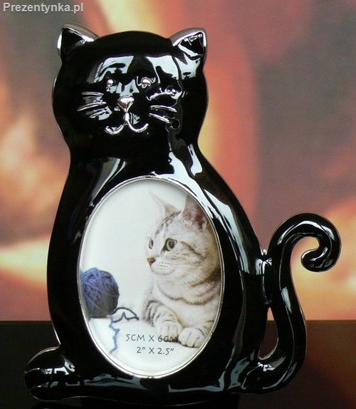 Ramka na zdjęcie czarny kot