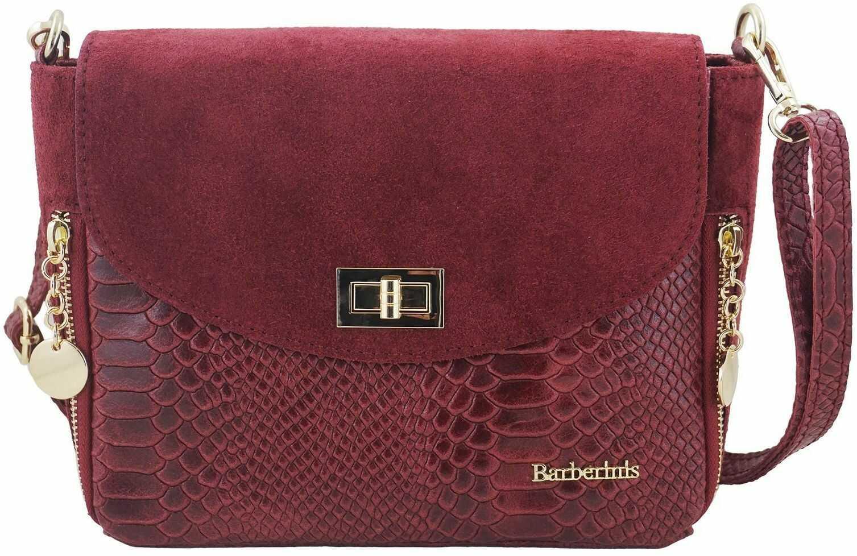 Zamszowa torebka ze złotymi ozdobami - Bordowa