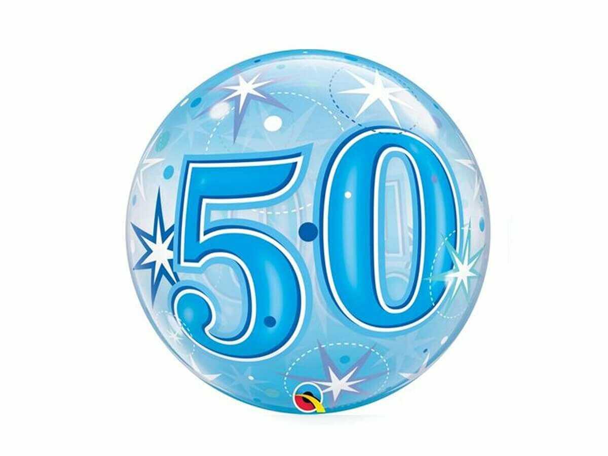 Balon foliowy bubble niebieski - 50tka - 56 cm - 1 szt.