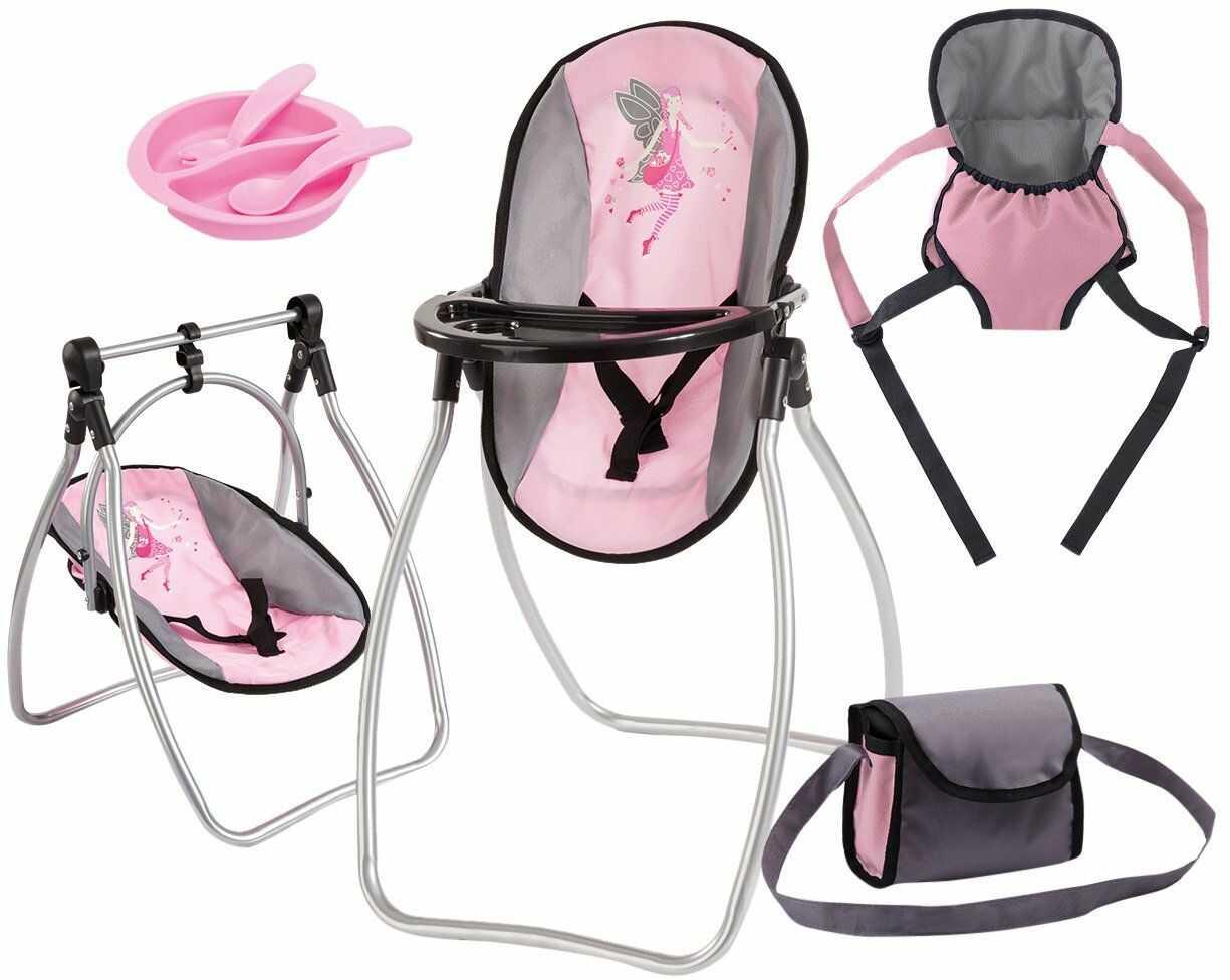 Bayer Design 63608AB akcesoria dla lalek, wysokie krzesło dla lalek, nosidełko dla lalek, kołyska dla lalek, z torbą, różowa, szara, z wróżką
