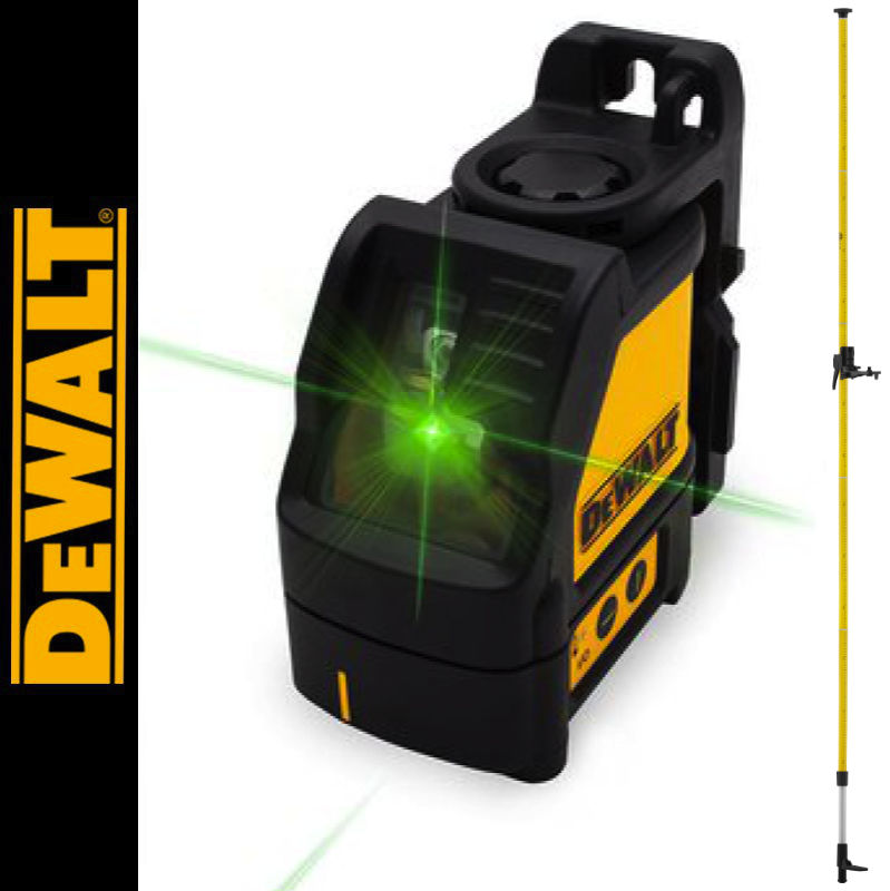 Laser liniowy krzyżowy, zielony DW088CG DEWALT + Tyczka rozporowa 3,3m LP-33 Nivel System