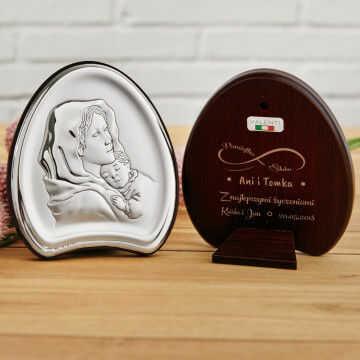 Nieskończona miłość - Matka Boska - Srebrny Obrazek z Grawerem