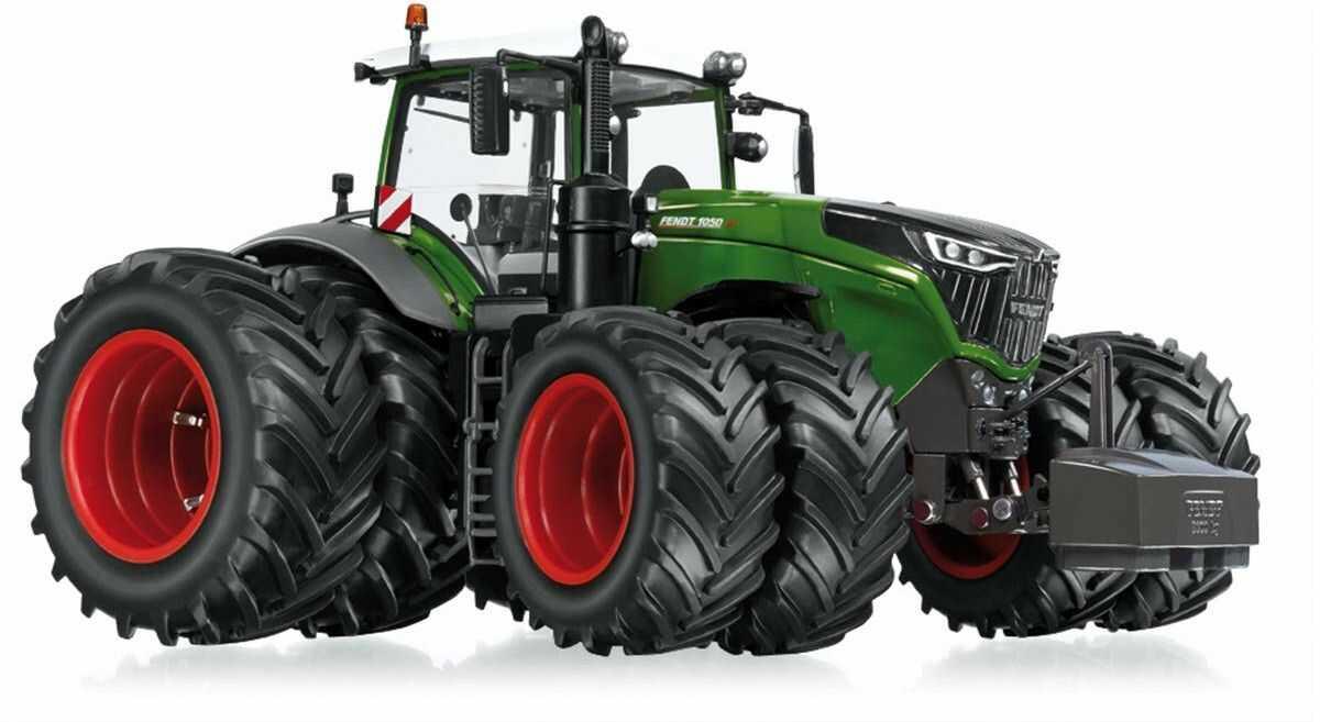 WIKING 077830 Fendt 1050 Vario model traktora z oponami podwójnymi, 1:32, metal/tworzywo sztuczne, od 14 lat, wiele funkcji, wymienne koła, otwieranie maski silnika