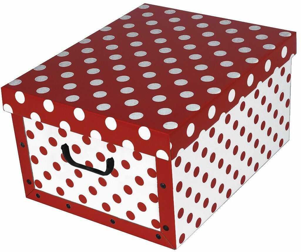 Pudełko kartonowe MAXI KROPKI - CZERWONE
