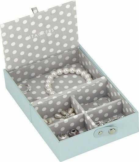 Pudełko na biżuterię podróżne travel box stackers błękitno-szare
